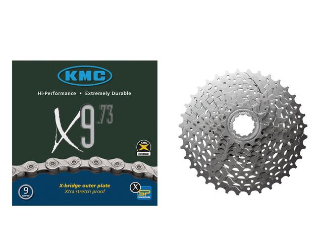Shimano Alivio CS-HG400 Kassett 11-32 & KMC X-9-73 Kedja 9-delad Drivlina Set Bundle grå